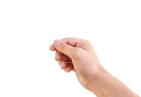 Signo de mano de hombre vacío aislado sobre fondo blanco. Mano de hombre sosteniendo aislado en blanco. Foto de archivo