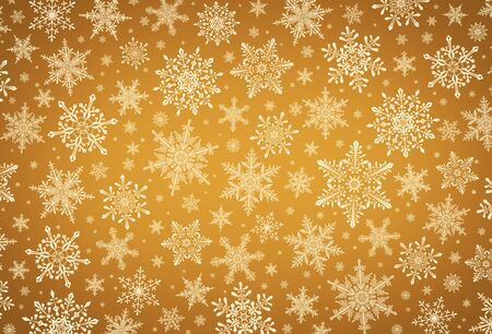Decorative Christmas background with bokeh lights and snowflakes. Christmas and Happy New Year golden background with snowflake.