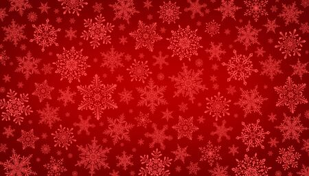 Decorative Christmas background with bokeh lights and snowflakes. Christmas and Happy New Year red background with snowflake. 版權商用圖片