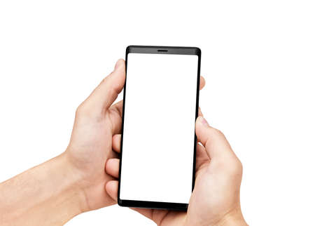 Close up of man's hands holding mobile smart phone with blank copy space screen, isolated on white background. Image of man using his mobile phone.