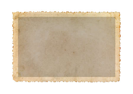 Vintage photo frame with figured edges, isolated on white background. Old photo paper. Imagens