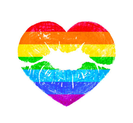 LGBT heart shape kissing lips in rainbow colors isolated on white background. Concept of gay lesbian transgender love with rainbow lgbt community color.