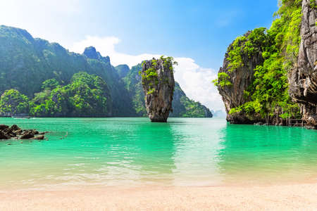 Famous island near Phuket in Thailand. Travel photo of island in Phang Nga bay, Thailand.