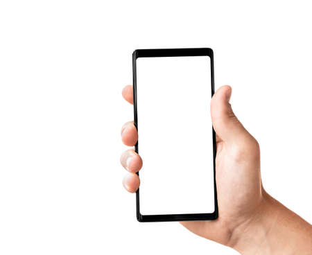 Man's hand holding black modern smartphone isolated on white background with clipping path. Close-up hand touching mobile smart phone.