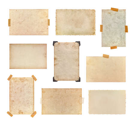 Set of vintage photos isolated on a white background. Collection of old photos, each one is shot separately.