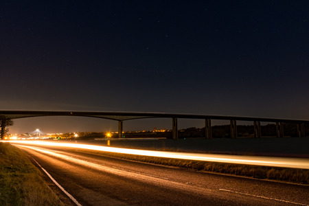 Long exposure shot of Orwell bridge in Suffolk