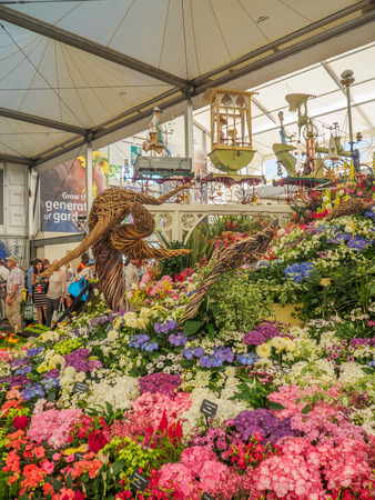 keywords: LONDON, UK - MAY 25, 2017: RHS Chelsea Flower Show 2017. Various flowers on the gold medal winner display in the Great Pavillion.