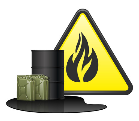 Black barrel for transport petroleum products. Two green fuel canisters in puddle gasoline. Yellow sign danger with fire.