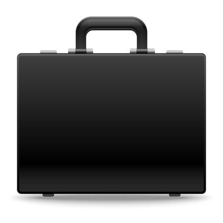 Black business briefcase. Used by businessmen, clerks, office workers for carrying important documents, money and expensive property. EPS10 vector illustration isolated on white background.