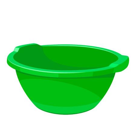 Lavabo vide en plastique vert. Réservoir d'eau pour laver les vêtements, la vaisselle et le nettoyage. Illustration vectorielle EPS10 isolée sur fond blanc. Vecteurs