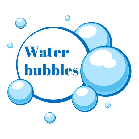 Blue air bubbles from water or chewing gum, foam. Templates for dialogs and messages, prices and discounts. Isolated white background. EPS10 vector illustration. Illustration