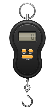 Black electronic device with orange buttons, metal hook and ring. Digit zero on screen display. Steelyard balance for weighing. Determination of weight. EPS10 vector illustration on wite background. Illustration