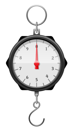 Black mechanical device with red arrow, numerals, tick marks, metal hook and ring. Steelyard balance for weighing. Determination of weight. Isolated on wite background. EPS10 vector illustration.