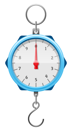 Blue mechanical device with red arrow, numerals, tick marks, metal hook and ring. Steelyard balance for weighing. Determination of weight. Isolated on wite background. EPS10 vector illustration.