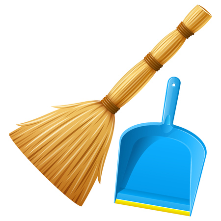 Set of realistic broom and blue plastic dustpan with yellow stripe. Housework tools for cleaning garbage in house. Cleaning service elements. Isolated on white background. EPS10 vector illustration.
