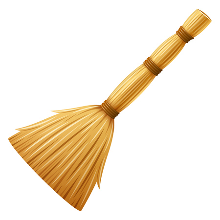 Realistic broom, besom. Housework tool for cleaning garbage in the house and on street. Cleaning service element. Isolated on white background. EPS10 vector illustration. Çizim