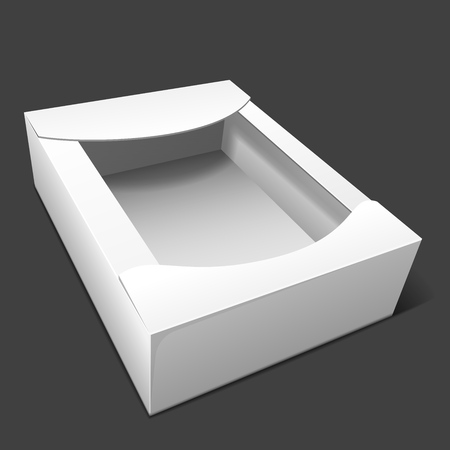 Empty white cardboard box for storing candy and baking, as well wrapping gifts and other items. Mockup. Isolated on dark background. EPS10 vector illustration.