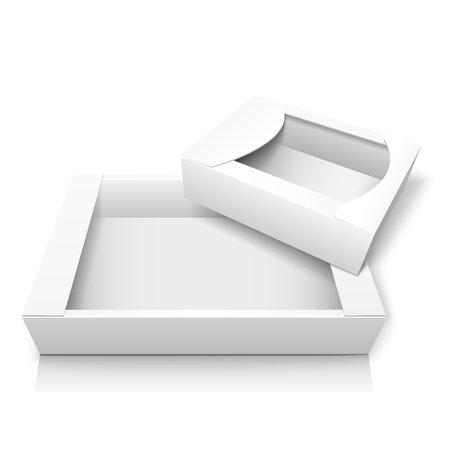 Two empty realistic cardboard box without lid for storing candy and baking, as well wrapping gifts and other items. Mockup. Isolated on white background. EPS10 vector illustration.