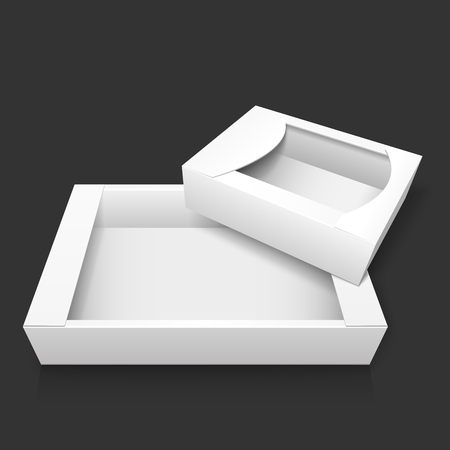 Two empty white realistic cardboard box without lid for storing candy and baking, as well wrapping gifts and other items. Mockup. Isolated on dark gray background. EPS10 vector illustration.