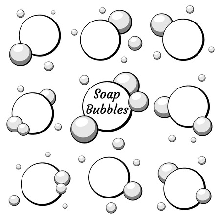 Black air bubbles set from water or chewing gum, foam. Set of templates for dialogs and messages, prices and discounts, blank speech. Isolated white background. EPS10 vector illustration.