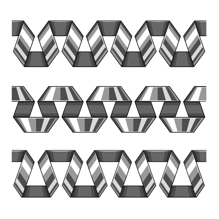 Set of silver decorative spiral ribbons, seamless borders. Elements for design. Isolated on white background. EPS10 vector illustration. Vettoriali