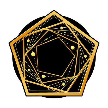 Semplice forma geometrica dorata astratta da linee che si intersecano. Pentagono sul cerchio nero. Elemento decorativo per grafica, simbolo, logo. Isolato su sfondo bianco. Eps10 illustrazione vettoriale.