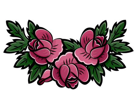 Wreath of pink roses, buds and green leaves with black stroke. Decoration element of cards, invitations, scrapbooking. Botanical hand drawn. Isolated on white background. Vector. Eps10 illustration.