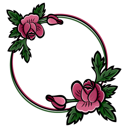 Decorative round flower frame with bouquet of pink roses, buds and green leaves with black stroke. Botanical hand drawn, place for text. Isolated on white background. Eps10 vector illustration. Illustration