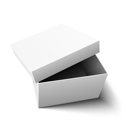 Boîte en carton ouverte réaliste vide blanche avec couvercle, maquette, templete, promotion. Stockage et transport des articles. Isolé sur fond clair. Illustration vectorielle Eps10. Vecteurs
