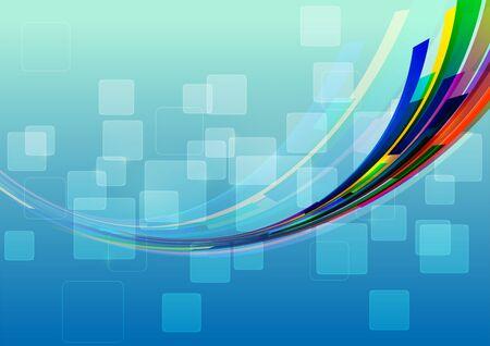 line art: L�neas abstractas sobre Cuadrados fondo azul, ilustraci�n vectorial Vectores