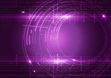 Purple Abstract Circles Technology Background, Vector Illustration