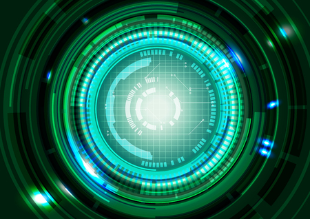 printed: Abstract Technology Circles Green Background, Vector Illustration