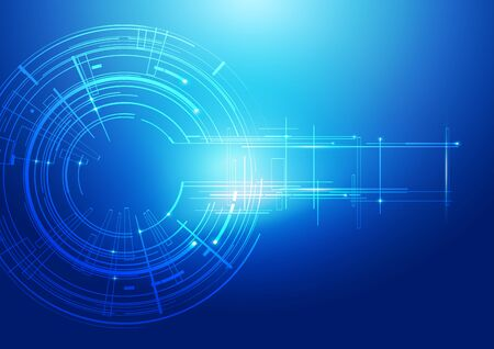 Abstract Lines Technology Blue Background, Vector Illustration