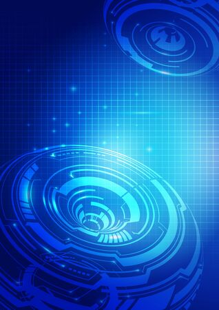 technology background: Abstract Lines Technology Blue Background, Vector Illustration