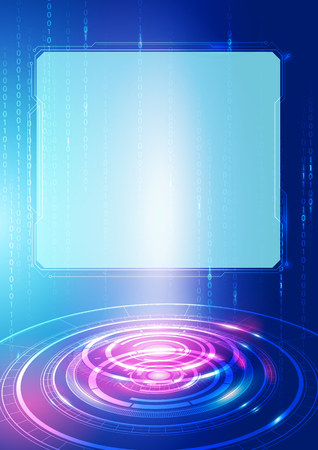 technology background: Abstract Digital Technology Blue Background, Vector Illustration