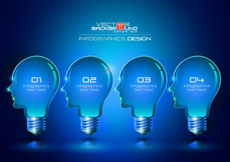 Human Head Light Bulbs Infographics Design Blue Background, Vector Illustration