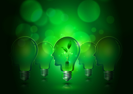 Human Head Light Bulbs Save Ecology Concept Green Background, Vector Illustration Ilustrace