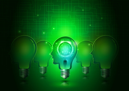 Human Head Light Bulbs with Technology Green Background, Vector Illustration