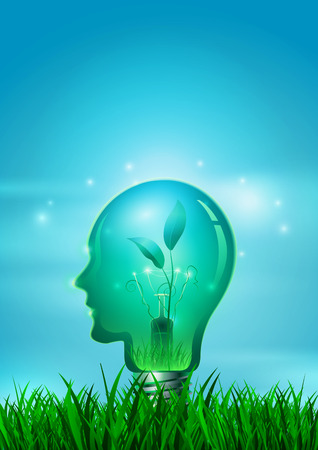 Human Head Light Bulb with Nature, Vector Illustration