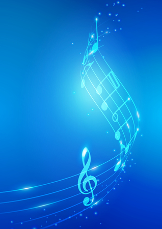 Abstract Music Notes Vector Blue Background Ilustrace