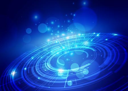 Tecnologia digitale astratta sfondo blu, illustrazione vettoriale