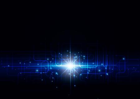 Tecnología abstracta con destellos brillantes sobre un fondo oscuro, ilustración vectorial Ilustración de vector