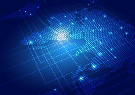 Mappa del mondo con sfondo tecnologico, illustrazione vettoriale