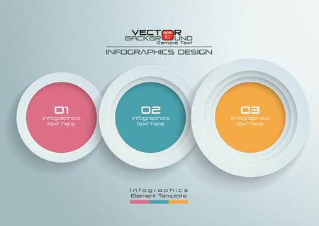 Círculos de papel con diseño de infografías de colores, ilustración vectorial