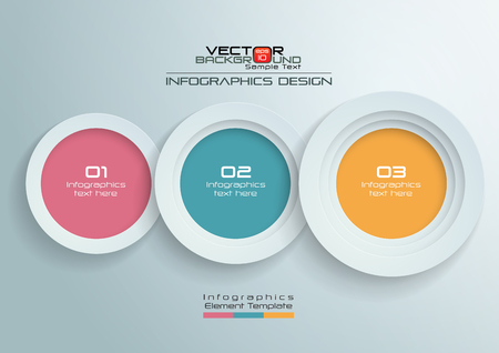 Papieren cirkels met kleuren Infographics ontwerp, vectorillustratie