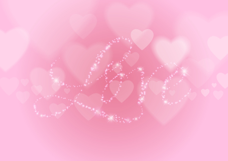 Love Abstract Background with Hearts and Lights, Vector Illustration