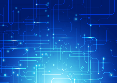 Abstract Lines Digital Technology Blue Background, Vector Illustration