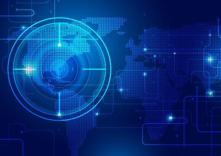 Wereldkaart met technologie blauwe achtergrond, vectorillustratie Vector Illustratie