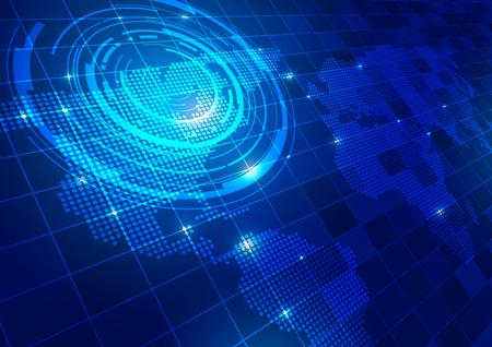 Carte du monde avec fond bleu de la technologie, Illustration vectorielle