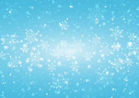 Abstrait bleu clair avec des flocons de neige, Illustration vectorielle Vecteurs
